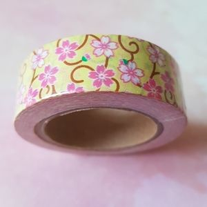 NEW Yellow Pink Floral Washi Tape (15mm X 10m)